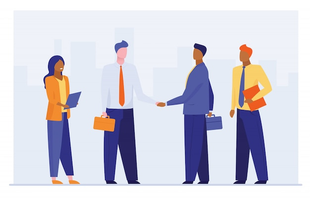 Business leaders shaking hands Free Vector