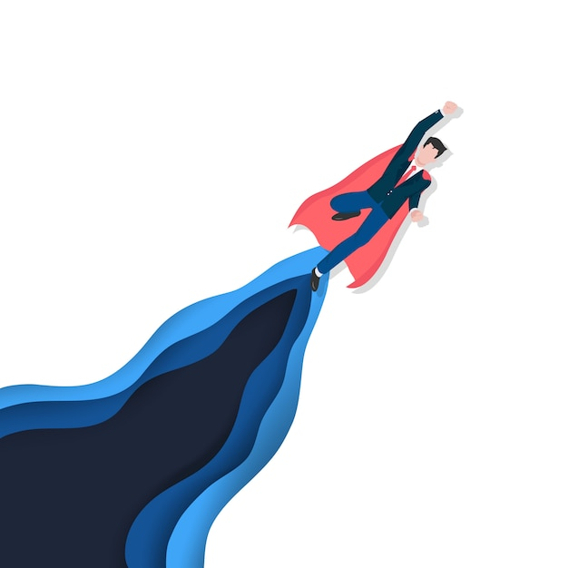 Business leadership as a hero concept for successful, achievement and the winner. Premium Vector