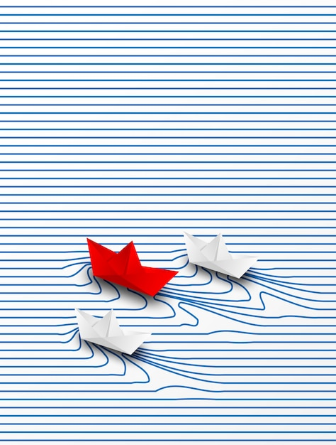 Business leadership ,financial concept. paper boat red leadership to success goal. creative idea. Premium Vector