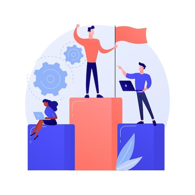 Motivazione della leadership aziendale. gestione aziendale, definizione degli obiettivi, raggiungimento del successo. capo ambizioso, top manager che controlla le prestazioni dei dipendenti. Vettore gratuito