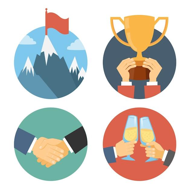 Business leadership vector illustration in flat design: success celebration victory and handshake Free Vector
