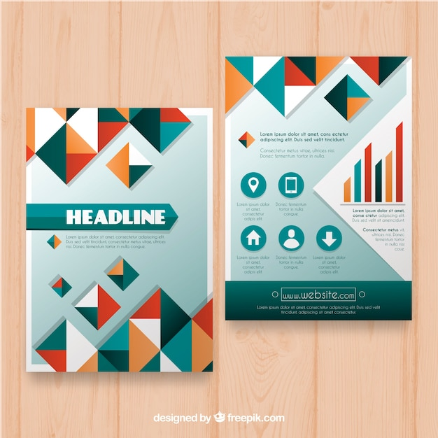 Business leaflet template with colored geometric forms