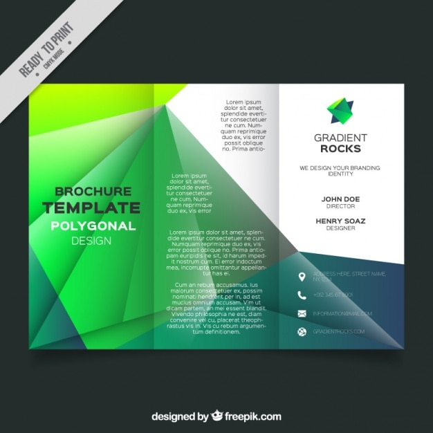 Business leaflet template with geometric forms in green tones vector business leaflet template with geometric forms in green tones premium vector flashek Choice Image
