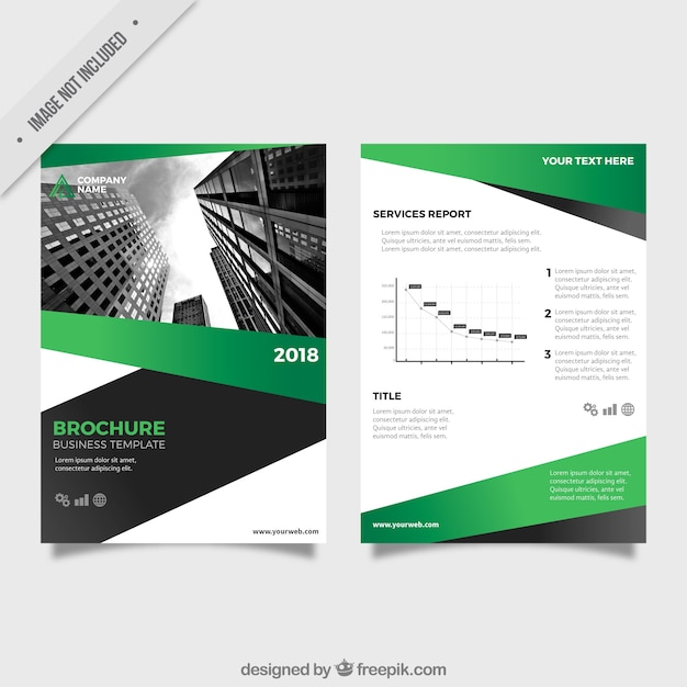 Business leaflet template with green and gray forms