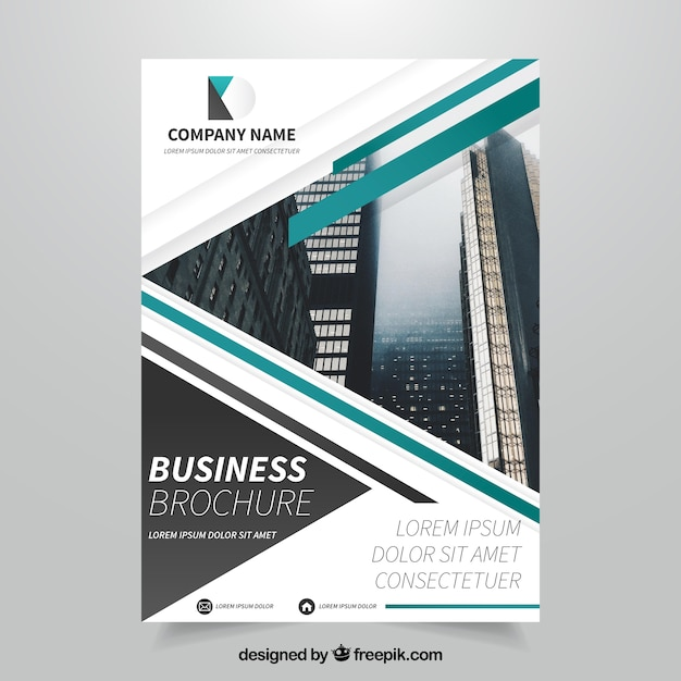 Business leaflet template with green forms