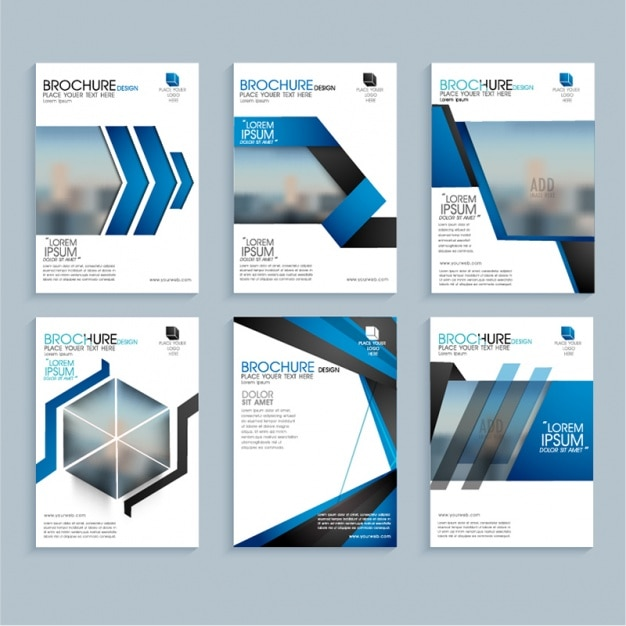 Business leaflets with geometric blue shapes Premium Vector