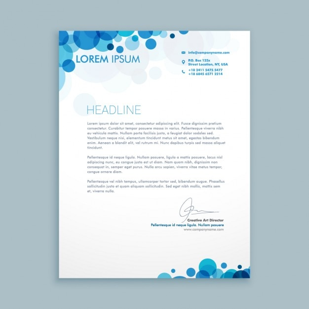 Business letter with blue circles Free Vector