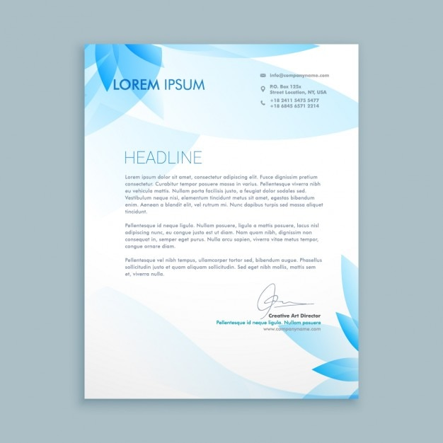 Business letter with blue flowers vector free download business letter with blue flowers free vector wajeb