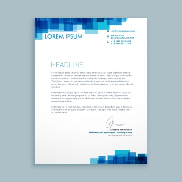 business letter with blue squares