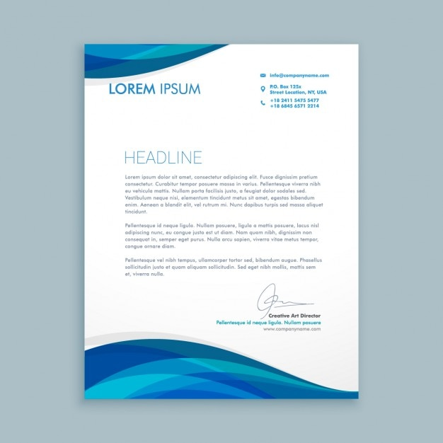 Business Letter With Blue Waves Free Vector  Business Newsletter Templates Free Download