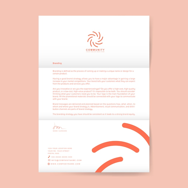 Business letter with logo Free Vector