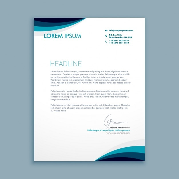 Business letter with waves in blue tones Free Vector