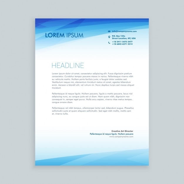 Business letterhead in blue color Vector – Business Letterhead