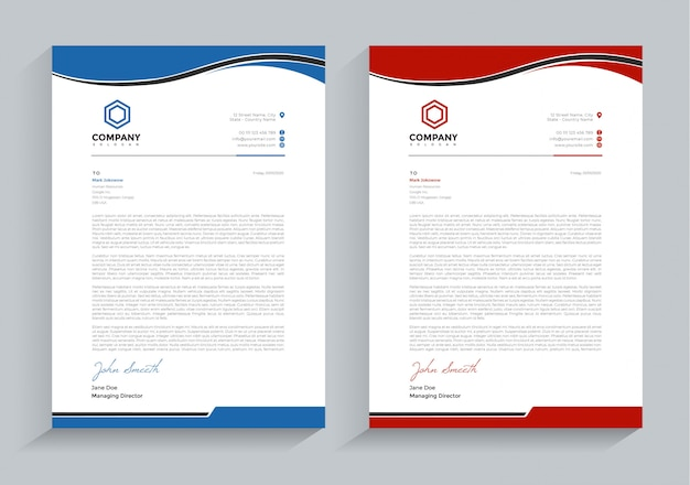 Business letterhead tow color version template Premium Vector