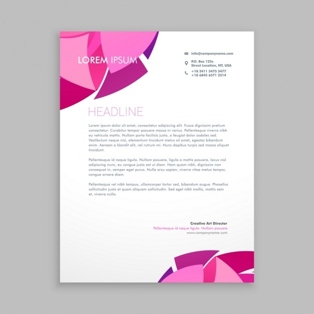 Business letterhead with pink shapes Vector – Business Letterhead