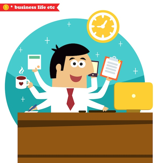 Business life. Multitasking and multipurpose\ businessman of all trades with coffee phone desk and computer\ vector illustration