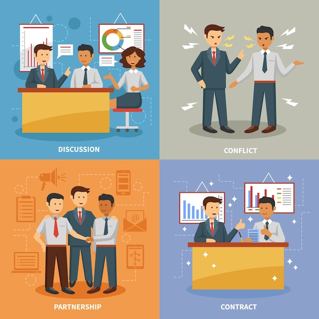 Business life set Free Vector