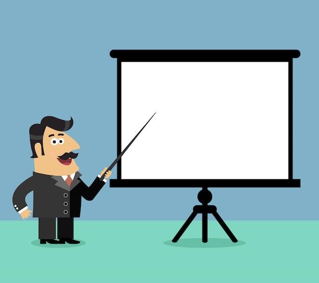 Business life shareholder boss makes a presentation pointing on blank flip chart scene vector illustration Premium Vector