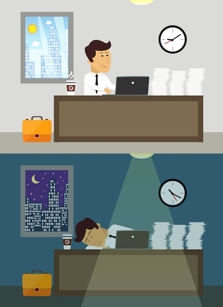 Business life workaholic worker in office day and night scene vector illustration Free Vector