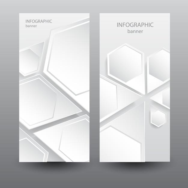 Banner verticale leggero aziendale con elementi astratti esagonali web Vettore gratuito