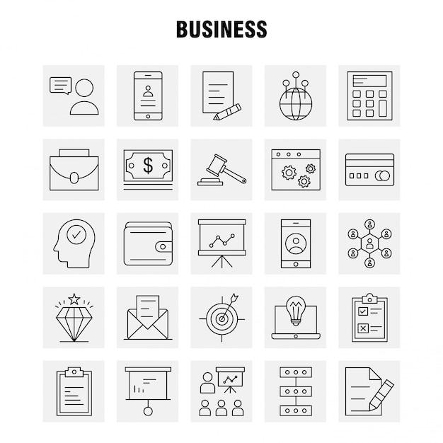 Бизнес line icon set Бесплатные векторы