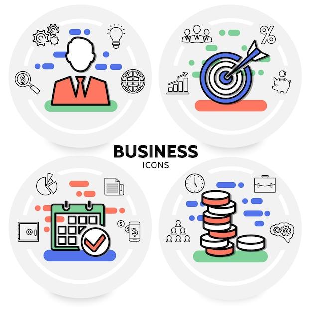 Business line icons concept with businessman teamwork bulb safe calendar document diagram chart Free Vector