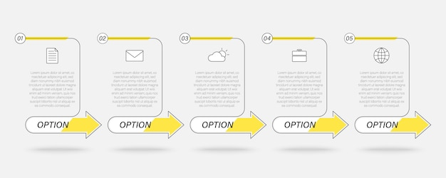 Business linear text box infographic, timeline process with 5 steps, arrows Premium Vector