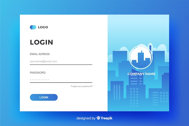 Business log in landing page design Free Vector