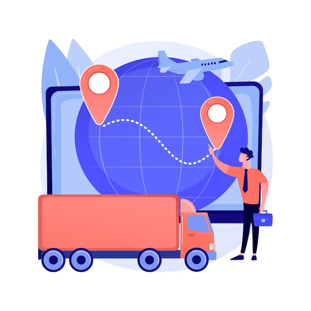 Business logistics abstract concept vector illustration. smart logistics technologies, commercial delivery service, worldwide business transportation, global product shipment abstract metaphor. Free Vector