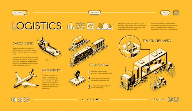 Business logistics isometric web banner, swipe landing page template with truck delivery Free Vector