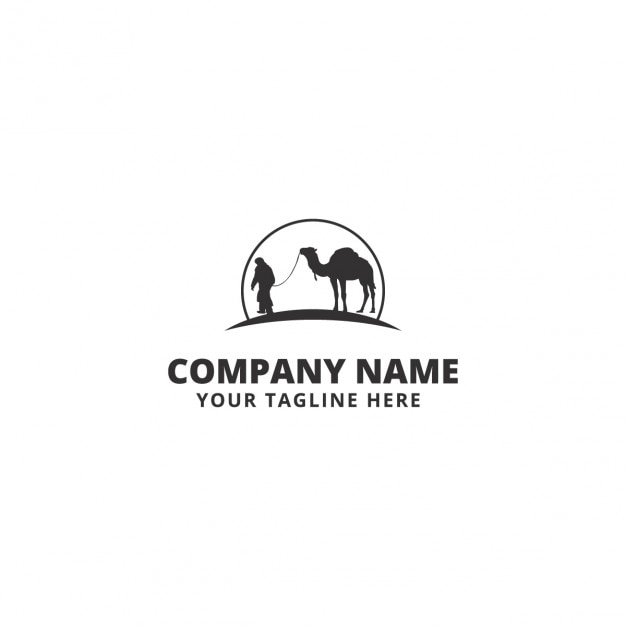 Business logo with a camel and a men Free Vector