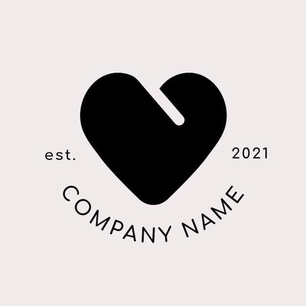 Logo aziendale con forma di cuore nero Vettore gratuito