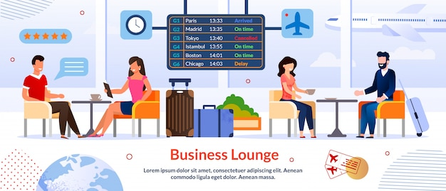 Business lounge in airport advertising banner template Premium Vector