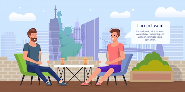 Business lunch in city cafe flat vector concept Premium Vector