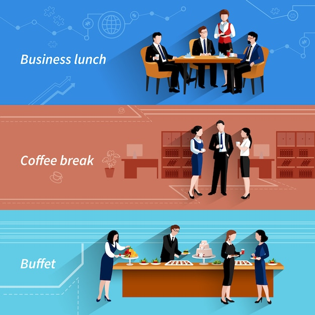 Business lunch flat banners set Free Vector