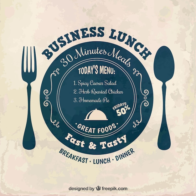 business lunch label vector free download