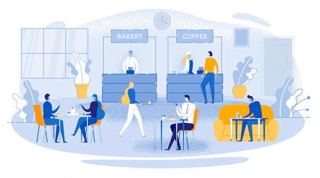 Business lunch office worker sit table eat drink Premium Vector