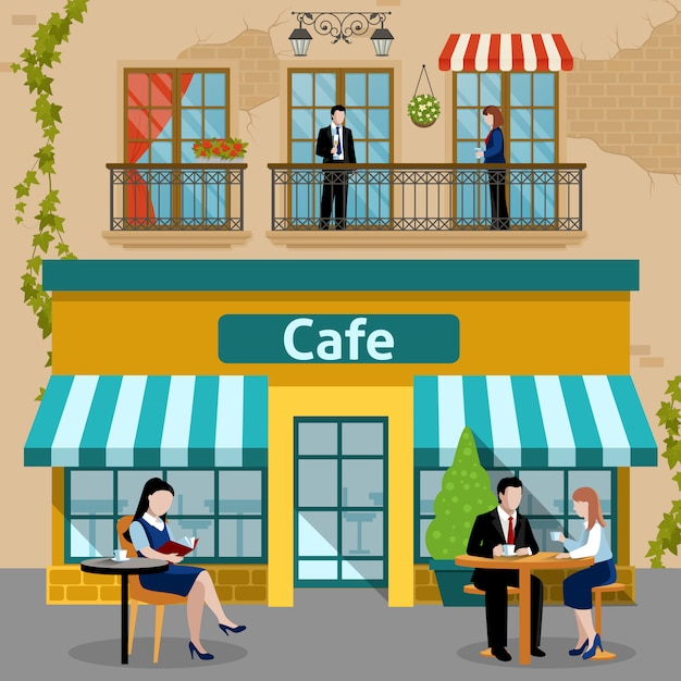Business lunch people flat composition Free Vector