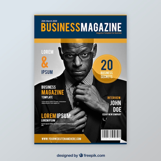 business magazine cover template with model posing vector