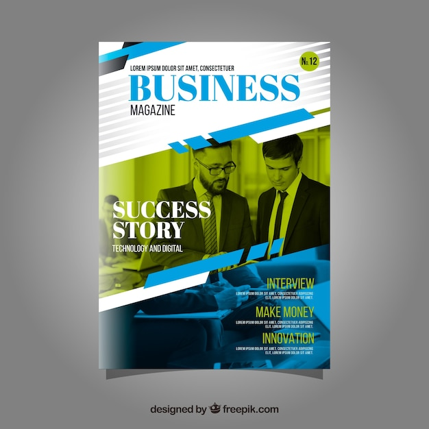 Business magazine cover template with model posing Free Vector