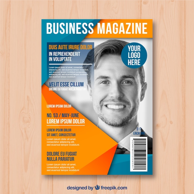 free magazine cover templates downloads - business magazine cover template with model posing vector
