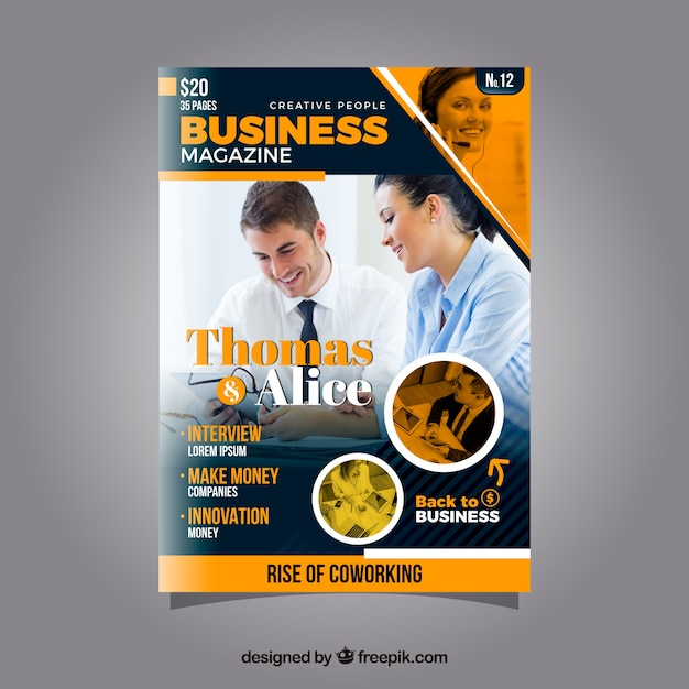 Business magazine cover template with photo Free Vector