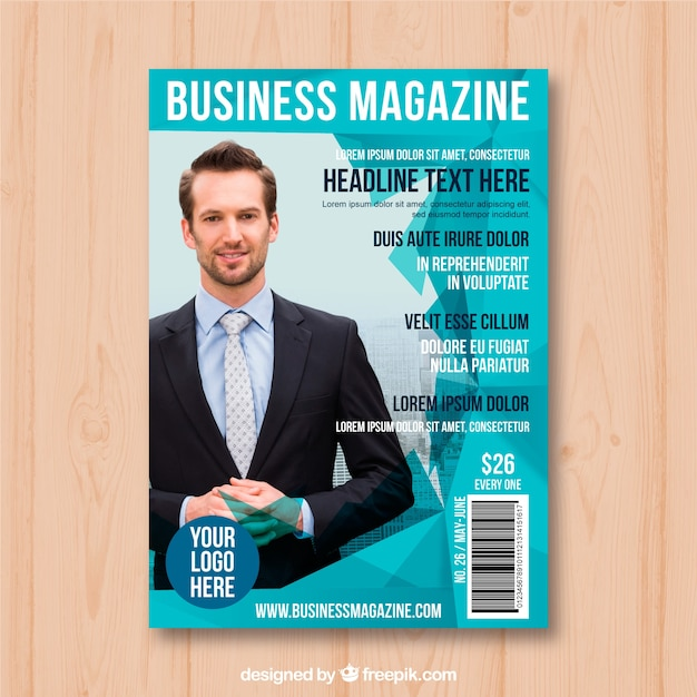 business magazine cover template with photo vector
