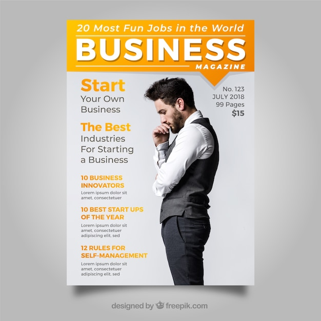 Business magazine cover template with photo vector free download business magazine cover template with photo free vector cheaphphosting Choice Image