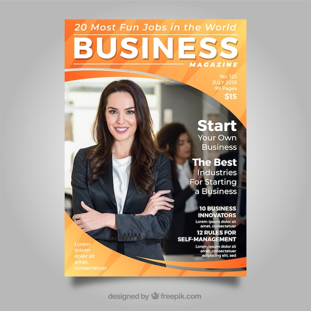Business magazine cover template with photo | Stock Images Page