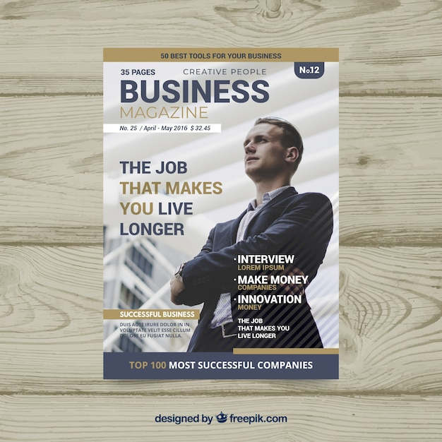 business magazine cover template with photo vector free download