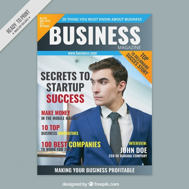 business magazine cover with an entrepreneur vector free download. Black Bedroom Furniture Sets. Home Design Ideas