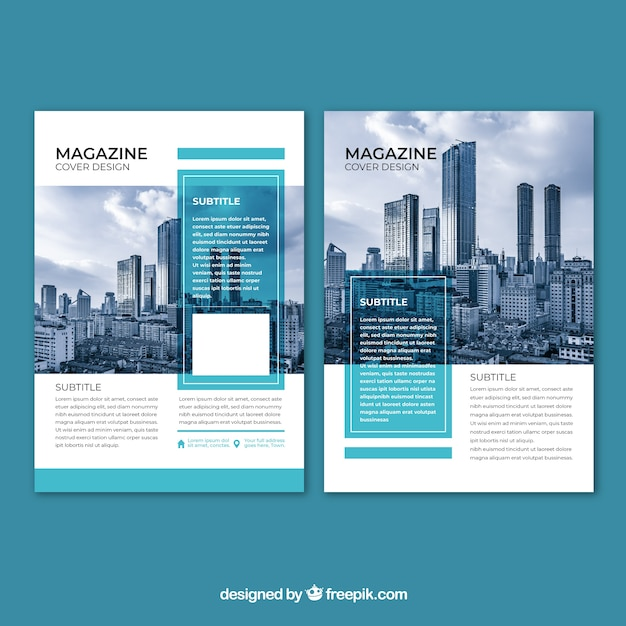 Business magazine cover with image Free Vector