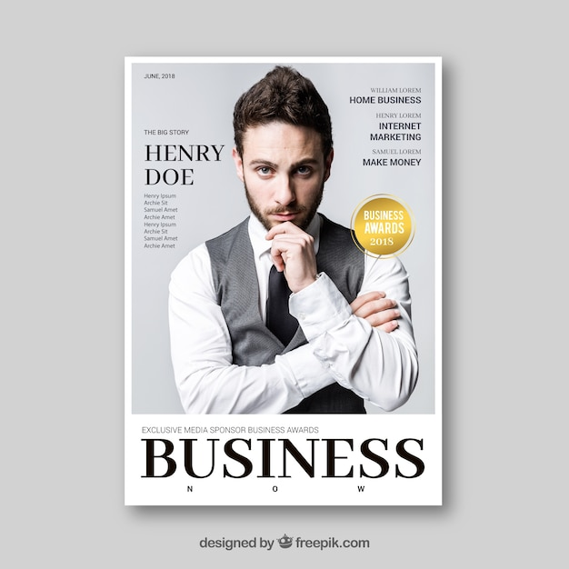 이미지가있는 비즈니스 잡지 무료 벡터