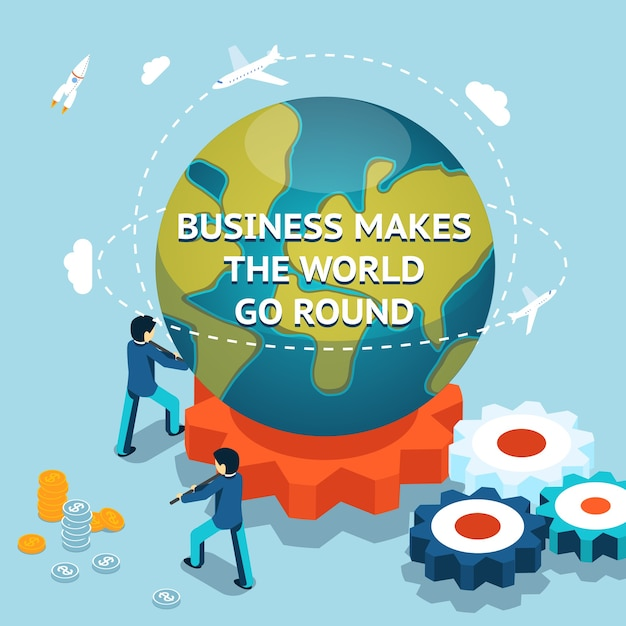 Бизнес заставляет мир вращаться. изометрическая 3d векторная иллюстрация Бесплатные векторы
